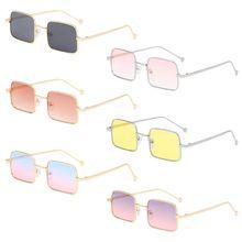 Fashion Men Women Trend Square Frame Sunglasses Gradient Color Metal Personality Spectacles Versatile Eyeglasses