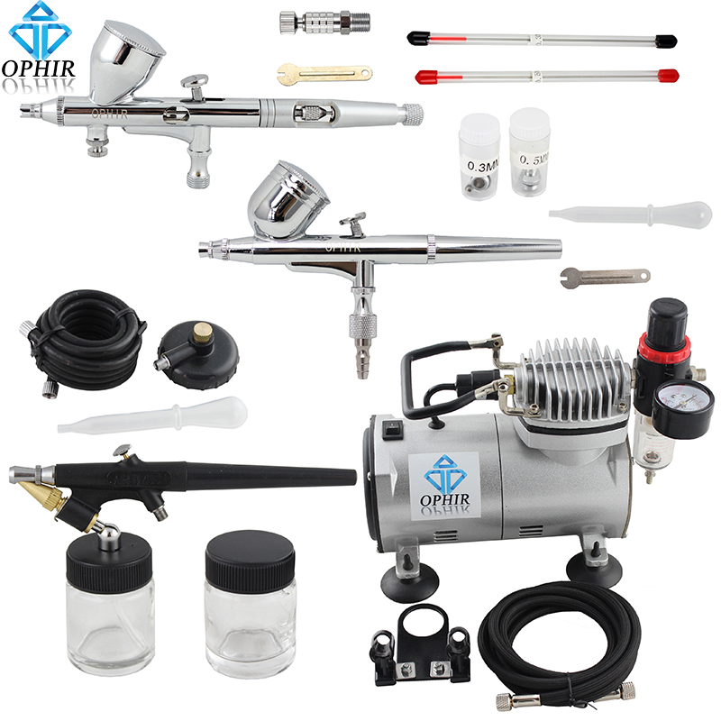 OPHIR 3PCS Airbrush Kit with Air Compressor for Model Hobby Nail Art Makeup Tattoo Body Paint Air Brush Gun _AC089+004A+071+070 ophir pro 2x dual action airbrush kit with air tank compressor for tanning body paint temporary tattoo spray gun  ac090 004a 074