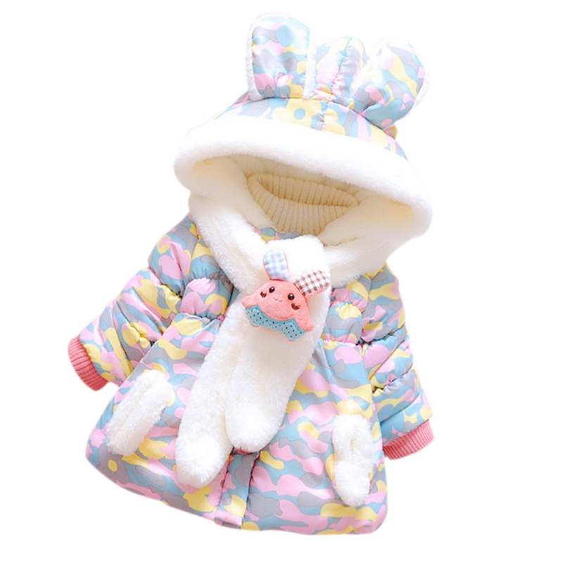 2017 Winter Cute Rabbit Baby Jacket Thick Cotton-Padded Baby Girl Outerwear Infant Baby Boys Parka Toddler Girls Snow Wear Baby free shipping winter girl stripe cute doll skirt cotton quilted jacket