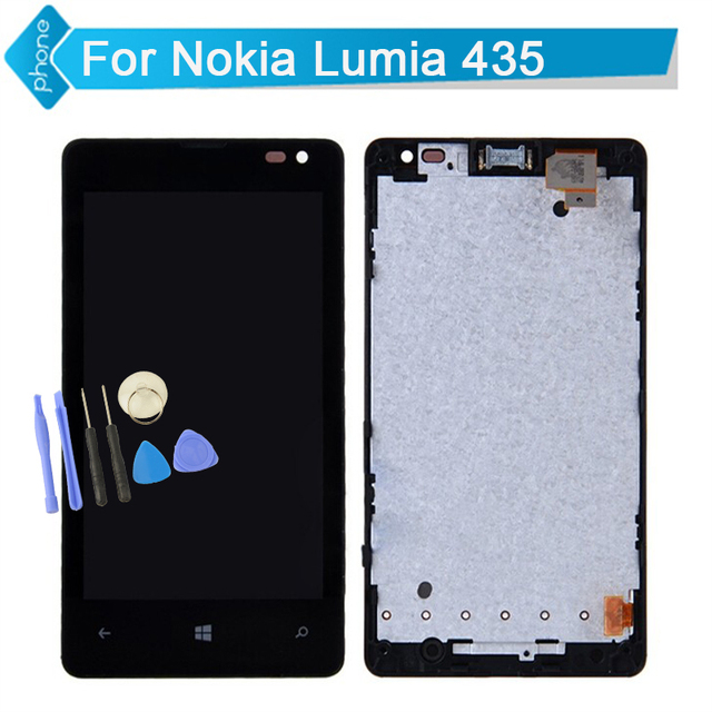 New Replacement For Microsoft Nokia  Lumia 435 LCD Display Touch Screen Digitizer Assembly with Frame Black +Tools