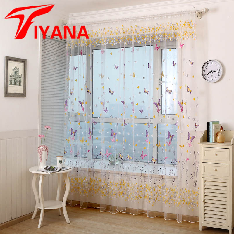 Rustic Style Window Curtain Red / Green Butterfly Designer Tulle Voile Fabric Transparent Sheer Curtains For Living Room P174Z40