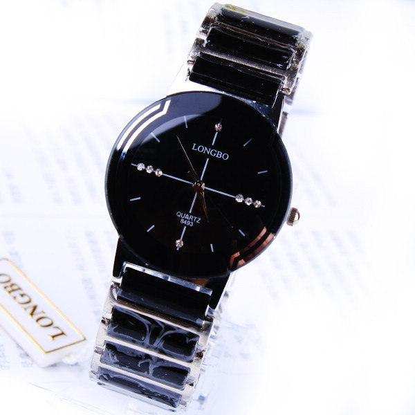 Fashion Brand Longbo Luxury Good Quality Ceramic Water Resistant Man Wrist Watch Quality Male Steel Business Rhinestone watches