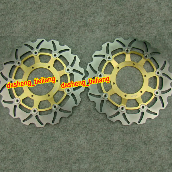 Motorcycle Front Brake Disc Rotors For Honda CBR 600 F4i 600F4i 2001 2002 2003 2004 2005 2006, Gold, Stainless Steel 2001 2002 2003 2004 2005 2007 full set motorcycle new front rear brake discs rotors for honda cbr600f cbr 600 f supersport f4