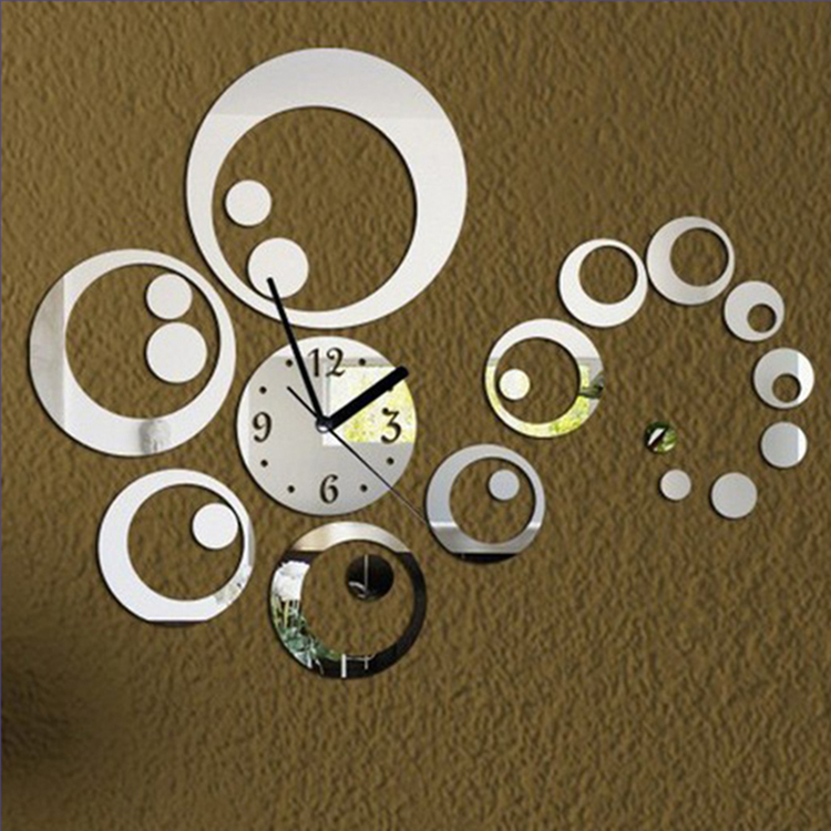 2017 promotion hot sale quartz watch wall clock modern decoration ation diy antique acrylic mirror Wall Stickers
