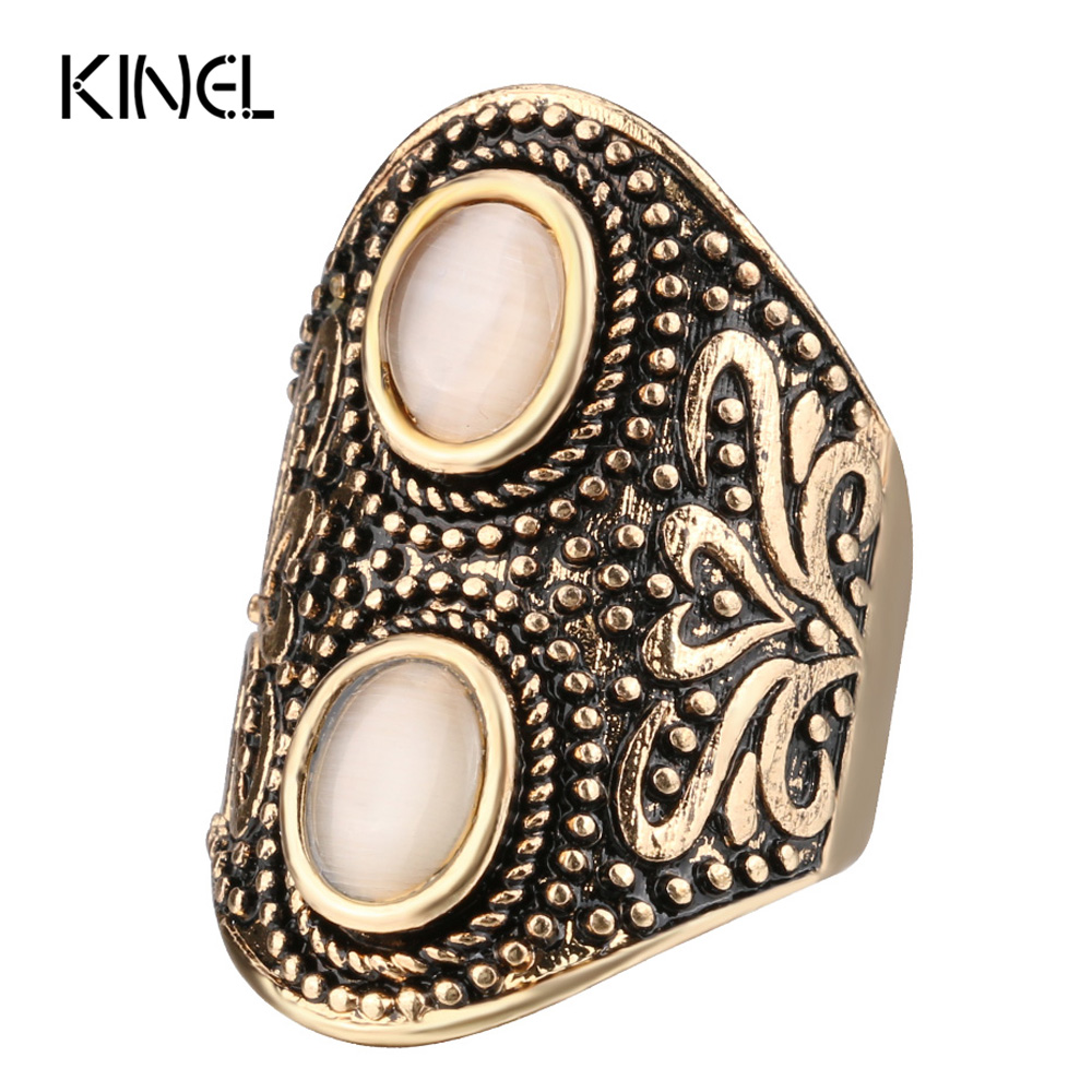 Kinel Bohemia Opal Rings For Women Auspicious Pattern Antique Gold Beach Knuckle Midi Ring 2017 New
