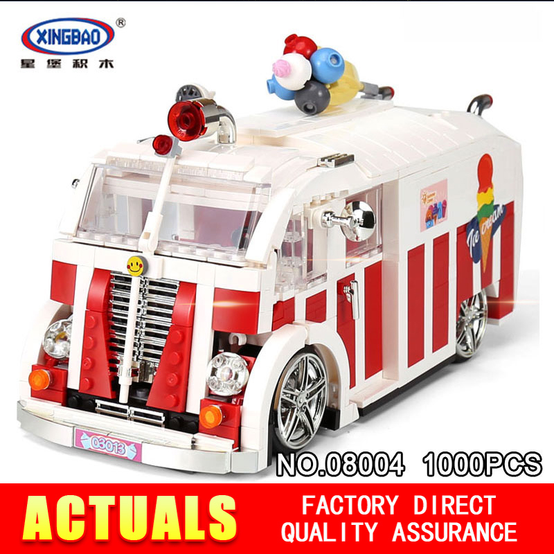 XINGBAO 08004 1000Pcs Creator The Ice Cream Car Set Building Blocks Bricks Children Educational toys Model as Christmas sueway 100% 08004