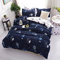 Темно-синие звезды космические геометрические узоры Комплект постельного белья 3/4 шт полноразмерная кровать подкладка Экстра большой Подо...
