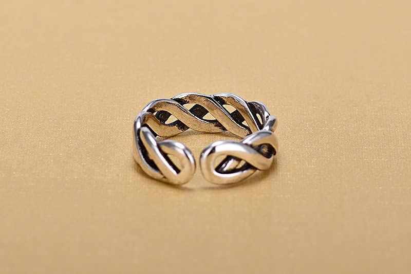 خواتم فضة إسترليني 925 مفتوحة للنساء خواتم أصلية مصنوعة يدويًا من الفضة الإسترليني مجوفة مجوهرات