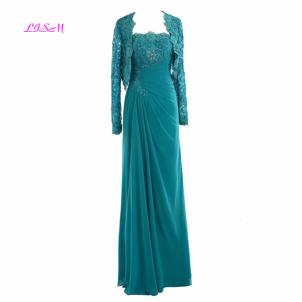 Chiffon Mother of the Bride Dress With Jacket Strapless Lace Beaded Long Sleeves Evening Formal Dresses vestido de madrinha in Mother of the Bride Dresses from Weddings Events