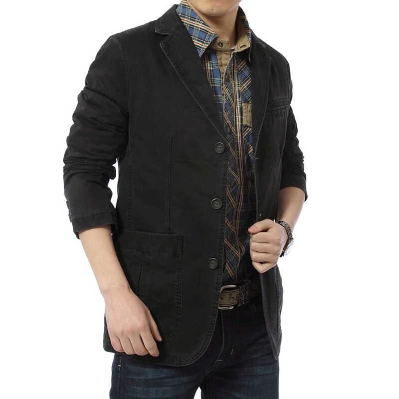ג 'ינס מזדמן גברים בלייזר בלייזר Parka הגברים slim fit כותנה מעילי צבא ירוק חאקי בתוספת גודל XXXL 4XL מעיל מותג בגדים