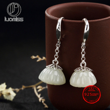 S925 sterling silver retro Hetian lotus inlaid earrings high-end personalized wild lady earrings wholesale character silver product s925 pure silver jewelry fashion earrings wholesale handmade lady hetian jade earrings