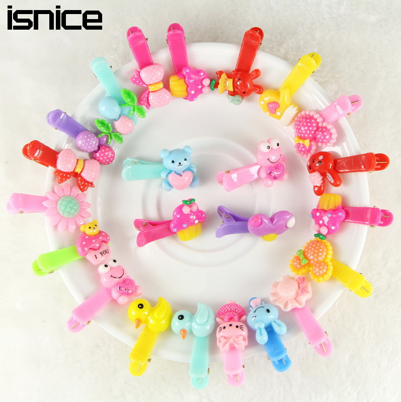 isnice 10pcs/lot Girls Hair Accessories Animal Hair Clip Hairpin Rabbit Flower Barrettes hairpins Princess Resin Hair Clip 12 colors cute girls hairpins children elsa side knotted clip hairpin hair clip small size hair accessories