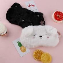 Мультяшная маска для глаз для сна и храпа маска для глаз для сна черная белая кошка котенок маска для глаз домашние очки для путешествия затенение сон
