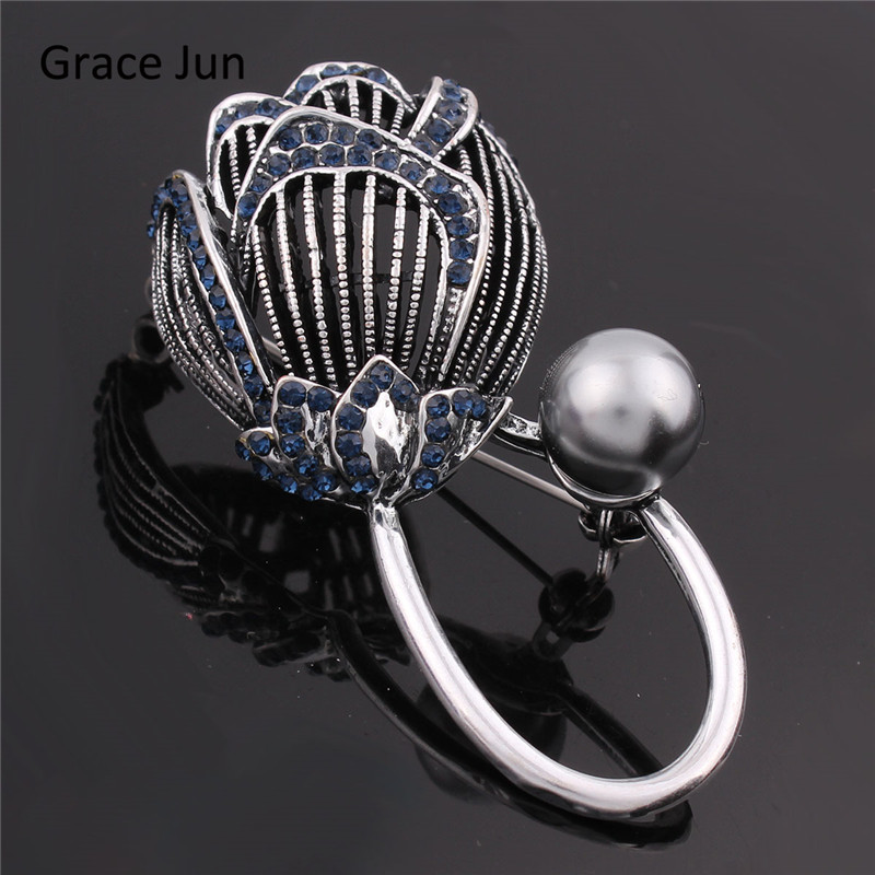 Grace Jun Top Quality Matte Vintage Flower Brooches for Women Party Wedding Bouquets Luxury Pearl Brooch Pin Jewelry Good Gift