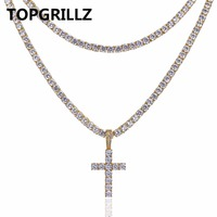 TOPGRILLZ Cross Pendant Necklace All Iced Out Two Tennis Chains Micro Pave AAAA Cubic Zirconia Men
