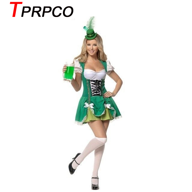 TPRPCO Oktoberfest Women Octoberfest Costume Party Performance Dance Clothing Set Beer Party Dress Green with Small Hat XL L M