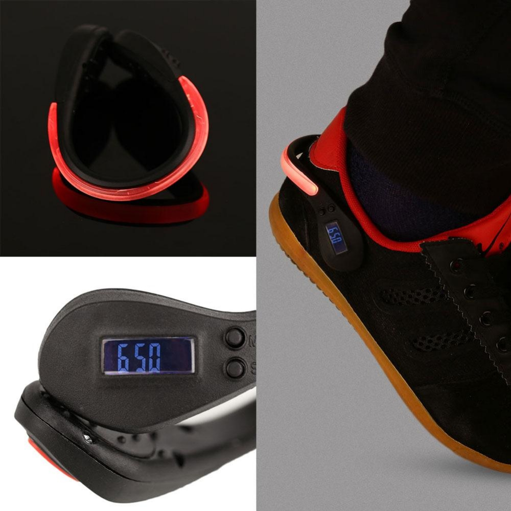 LED Luminous Shoe Clip Step Counts Pedometer Calorie Counter Sports Supply
