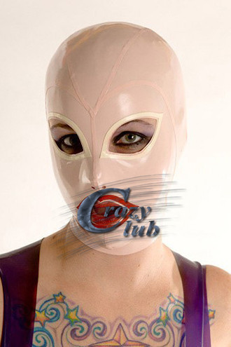 Crazy club_Latex Fetish Transparent splice Baby Pink Sexy Rubber Hood Fetish Latex Mask Adult Custom Plus Size Hot Sale latex mask with tube rubber party mask full cover attached funnel plus size hot sale adult products sexy life