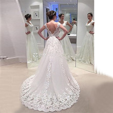 Vestido De Noiva Renda Wedding Dresses 2019 Backless Appliques Lace Bridal gown Plus Size Simple dress Robe Mariee