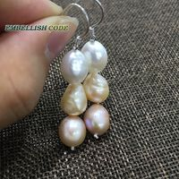 Summer Stely Popular Hook Dangle Earring Freshwater Cultured AAA Pearl Mixed Color White Pink Purple Rainbow