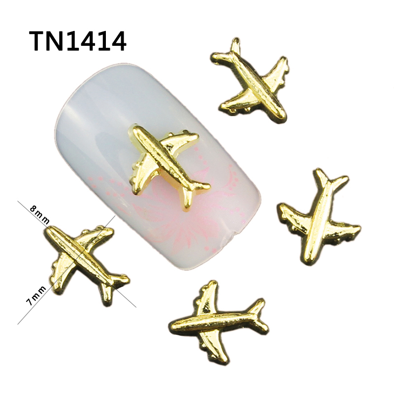 10pcs 3d Aircraft Nails Glitter Diy Airplane Nail Art Decorations