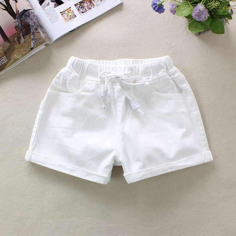 2019 Summer White Women's Denim   Shorts   Elastic Waist   Shorts   100% Cotton Pockets England Style Solid Straight Denim   Shorts   9261
