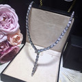 Designer Fashion Copper Jewelry Platinum Plated 3A Cubic Zirconia Party Snake Necklace