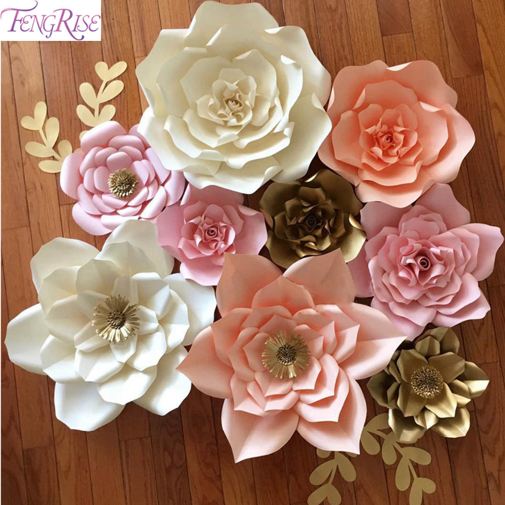 Wedding Flower Decoration Photos: FENGRISE 2pcs 20cm DIY Paper Flowers Backdrop Blue