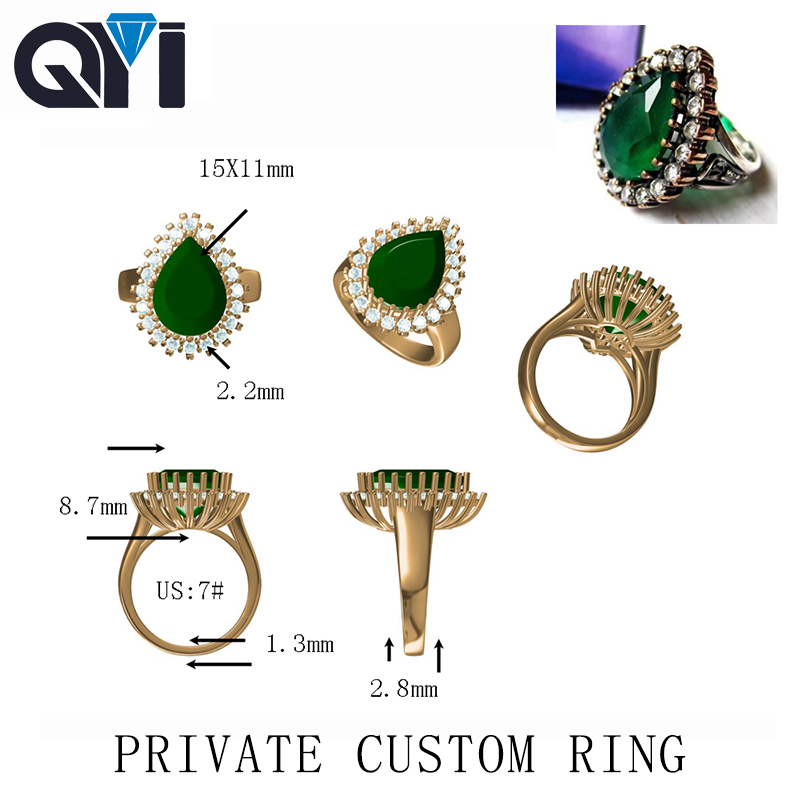 QYI 925 silver 10k 18k Private custom The only engagement wedding ring high end custom
