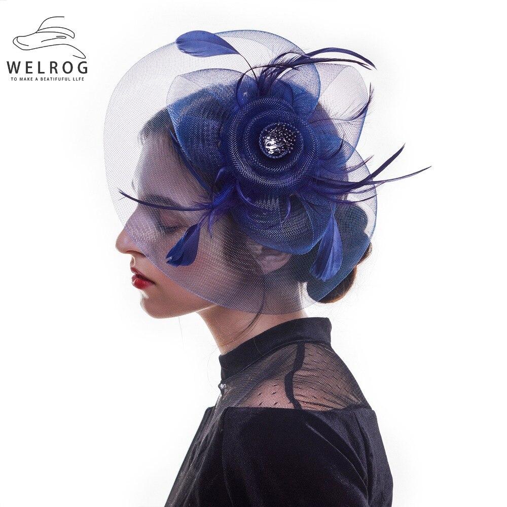 WELROG Retro Womens Fedora Hats Fascinator Hat Feather Gauze Mesh Net Hair Clip Headwear For Party Wedding Lady Ribbon Headwear
