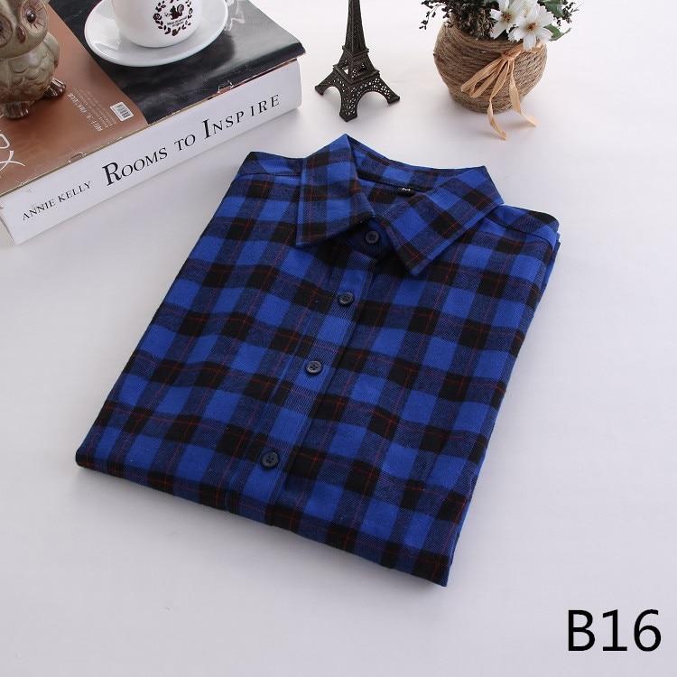 2018 Fashion Plaid Shirt Female College Style Women's Blouses Long Sleeve Flannel Shirt Plus Size Casual Blouses Shirts M-5XL 32
