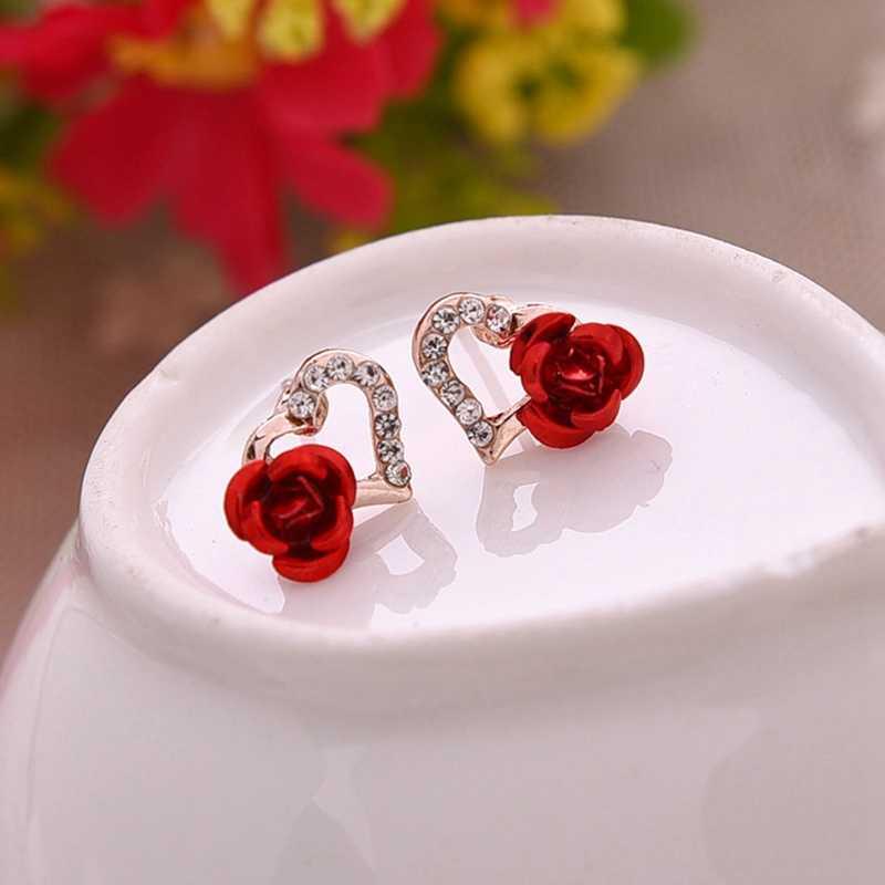 Thời Trang mới Màu Vàng Thạch Bông Tai Cho Phụ Nữ hình Trái Tim Red Rose Flower Stud Bông Tai Valentine của Món Quà Ngày