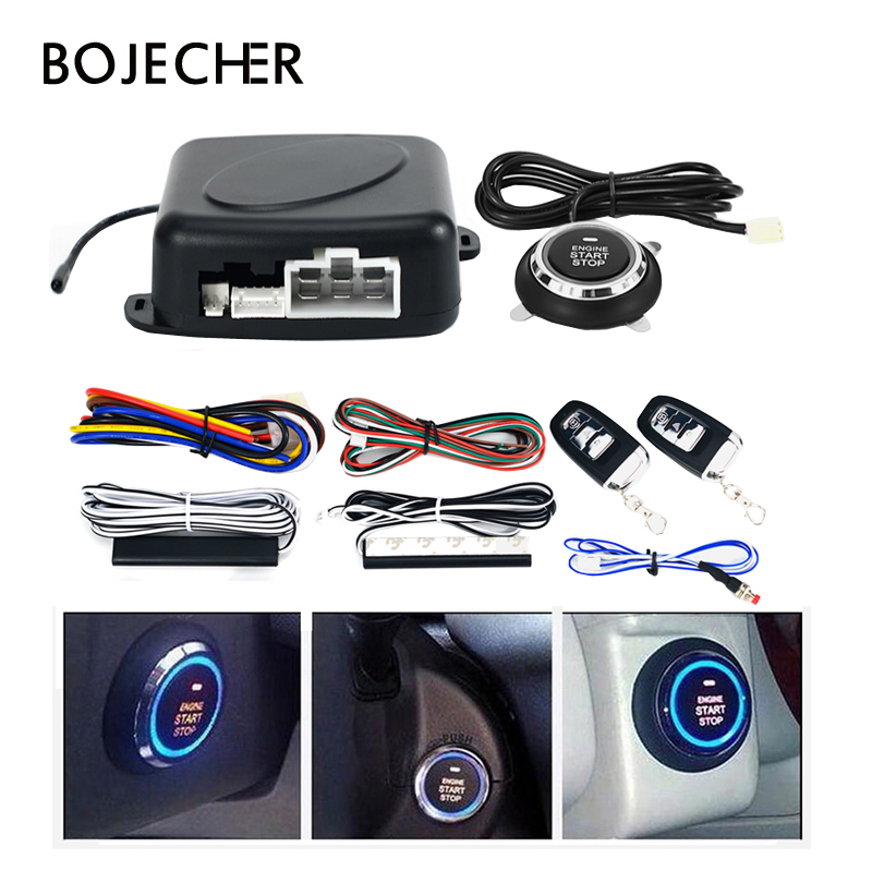 9Pcs Car Start Alarm Burglar Systems Engine Push Start Stop Button Anti theft Keyless Entry System
