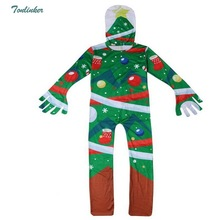 Big Boys Girls Christmas Jumpsuit Costume Kids Green Fancy Party Cosplay Costumes 2018 New Arrivals