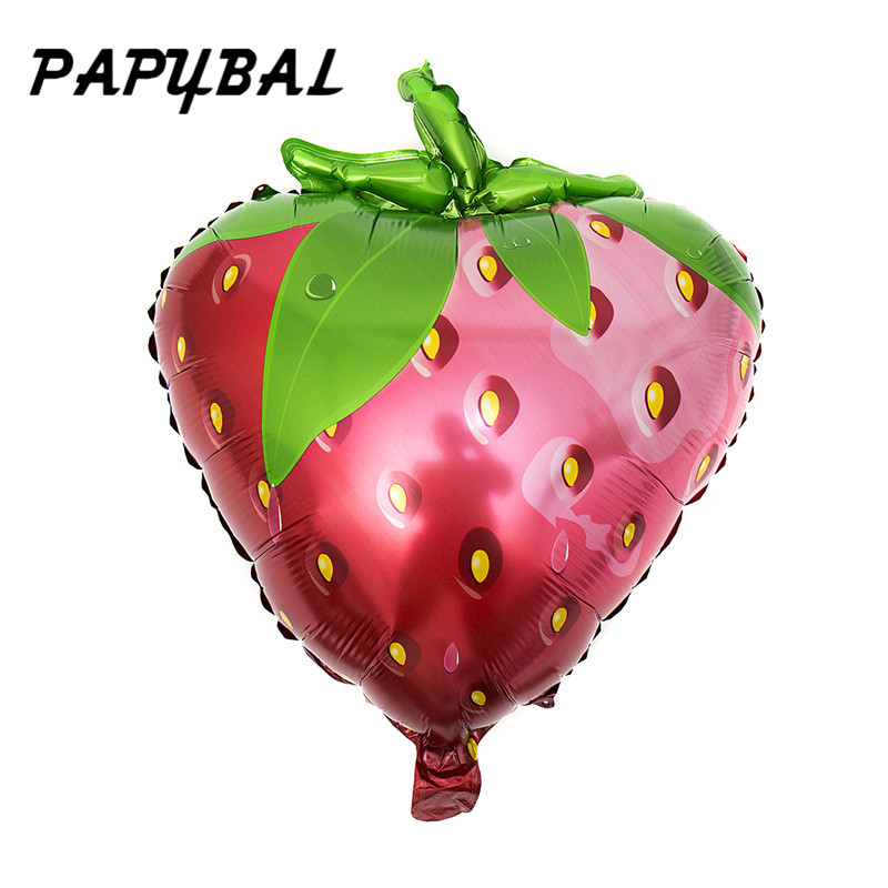 50pcs Big Strawberry fruit Aluminum Foil Balloons Baby Happy Birthday Wedding Holiday Party decoration Inflatable Toys