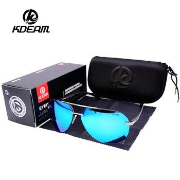 e47797d6f2 Gafas De Sol para hombres KDEAM marca piloto De conducción De Sol  polarizadas De aluminio De vidrio De marco De espejo hombre UV400 Gafas De  Sol De Gafas ...