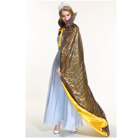 Pageant Sequin Cloak for Women Full Length 71 Ponchos Europe Style Lace up Robe Medieval Cape Cosplay Party Queen Costume Gold