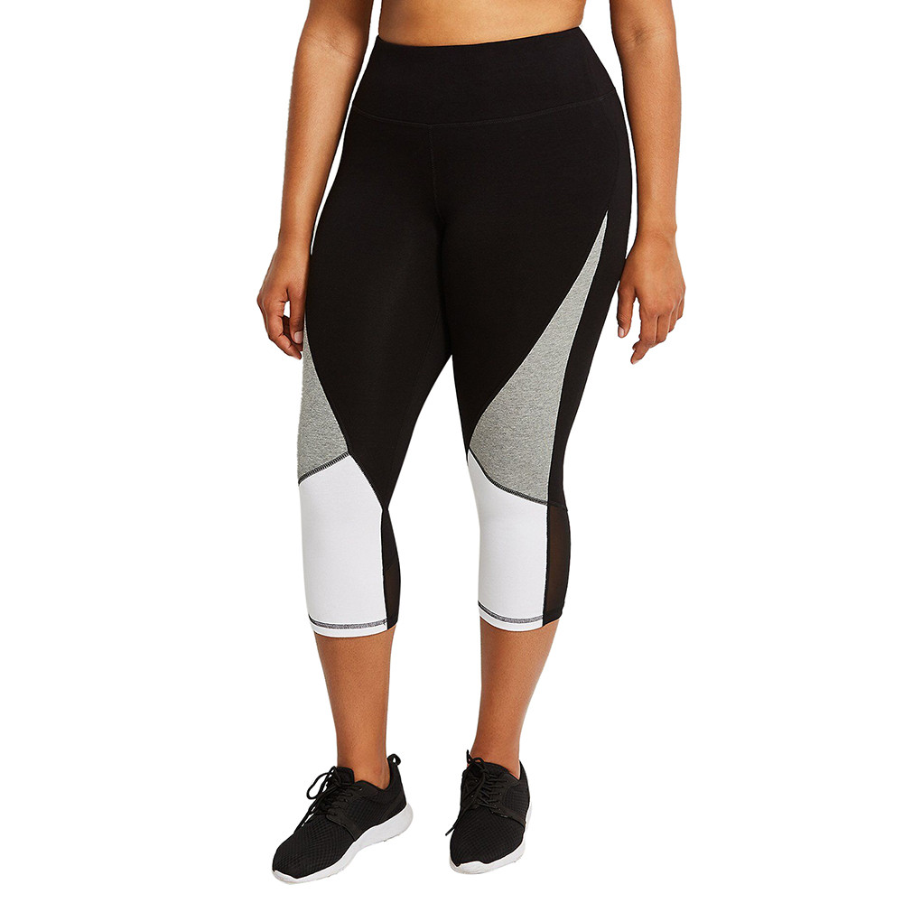 Women Plus size Sportswear Hit Color Splice Ladies Female Sports Workout Running Fitness Elastic Leggings Pencil track Pants