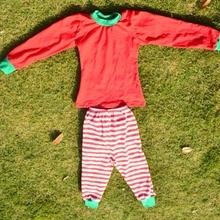 Коллекция года, зимняя одежда для малышей рождественское красное боди, розовая полосатая отделка, Детские парные взрослая Пижама