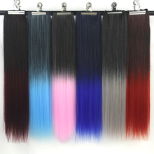 Soowee 24inch High Temperature Fiber Synthetic Hair Black to Pink Gray Ombre Color Hair Pad Clip In Hair Extensions Cheveux(China)