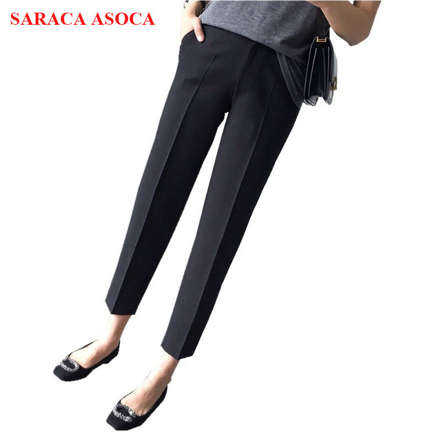 8f9ae1c27 Fashion Autumn High Waist Ankle-Length Pant For Girls All Match Wide Leg  Split Black Pants Women's h-08