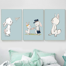 Cute Rabbit Mouse Flower Animals Nordic Posters And Prints Wall Art Canvas Painting Watercolor Pictures For Kids Room Decor