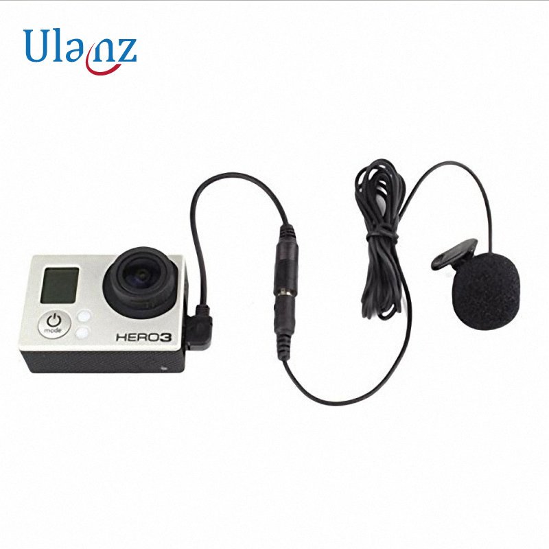 Wrumava pour GoPro Hero 3 + 4 5 Accessoires Microphone Adaptateur Mini USB à Stéréo Audio Adaptateur Câble 3.5mm Avec Clip-sur Mic pour