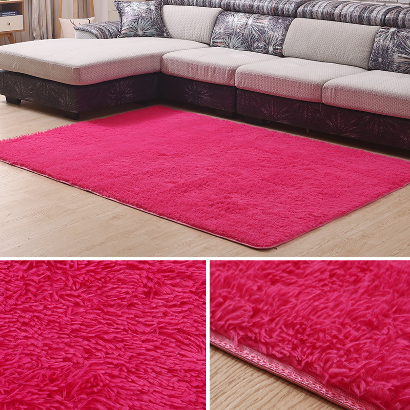 Multi Size/Color Fluffy Plush Fabric Rectangle Living Room Carpet ...