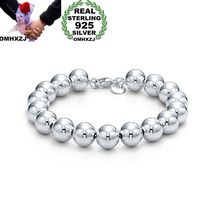 OMHXZJ Wholesale Personality Fashion OL Woman Girl Party Gift Silver 10mm Hollow Beads Chain 925 Sterling Silver Bracelet BR07 цена