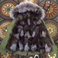 New arrival Fashion fox fur grey black color splice army green jacket
