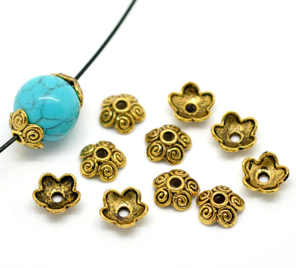 50-500PCs Ancient Gold Tone Flower Bead Caps Bracelet & Necklace DIY Jewelry Findings Fit Beads Jewelry Accessories 10x4mm