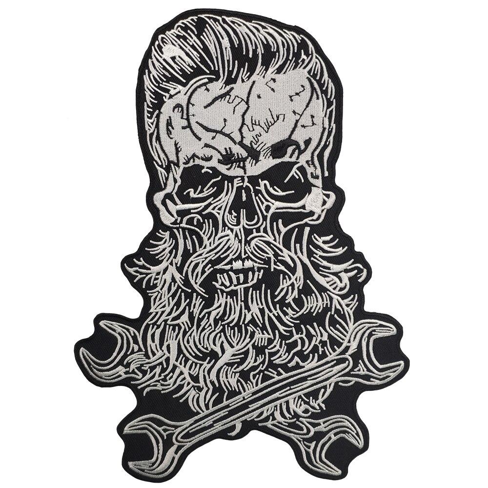 Barbe crâne moto vêtements Patch broderie cavalier Biker autocollants personnalisé pour veste dos de fer sur patchs pour vêtements