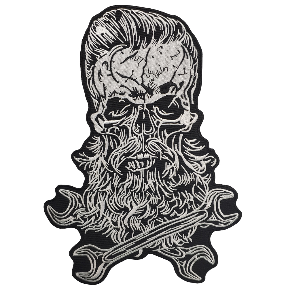 Beard Skull Motorcycle Clothes Patch Embroidery Rider Biker Stickers Custom For Jacket Back Of Iron On Patches For Clothing