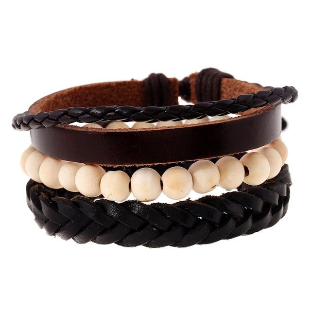3 Pcs Lot Retro Woven Leather Bracelets Men Jewelry Bangles Multilayer Wood Beads